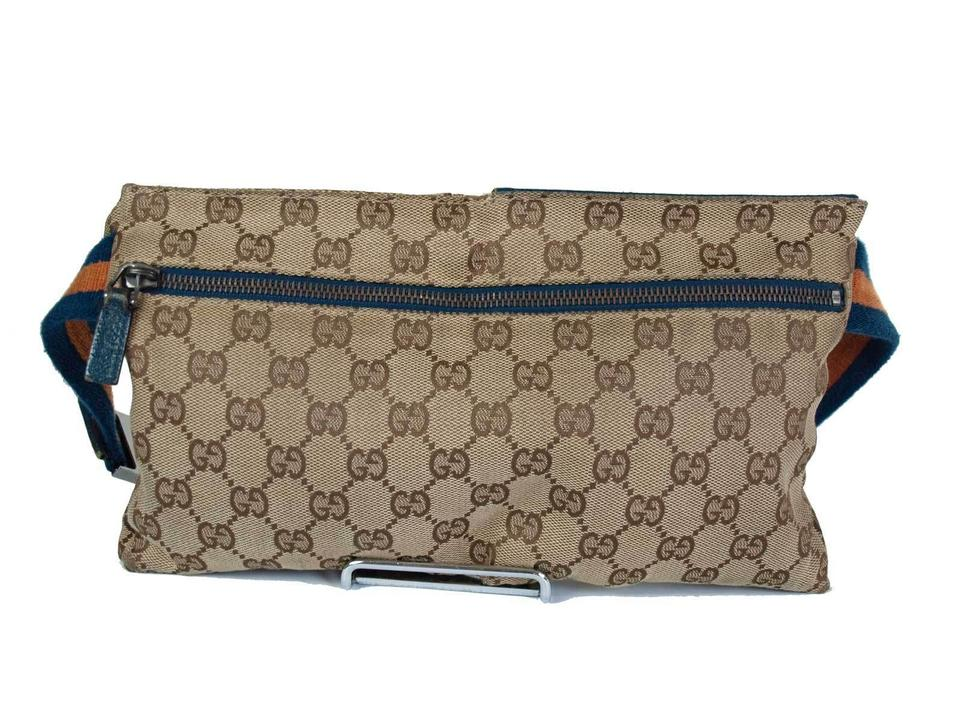 b11a731a2c2834 Gucci Sold Online 12/27/18 Monogram Gg Fanny Pack Waist Pouch 867305 Orange  X Blue Coated Canvas Cross Body Bag - Tradesy