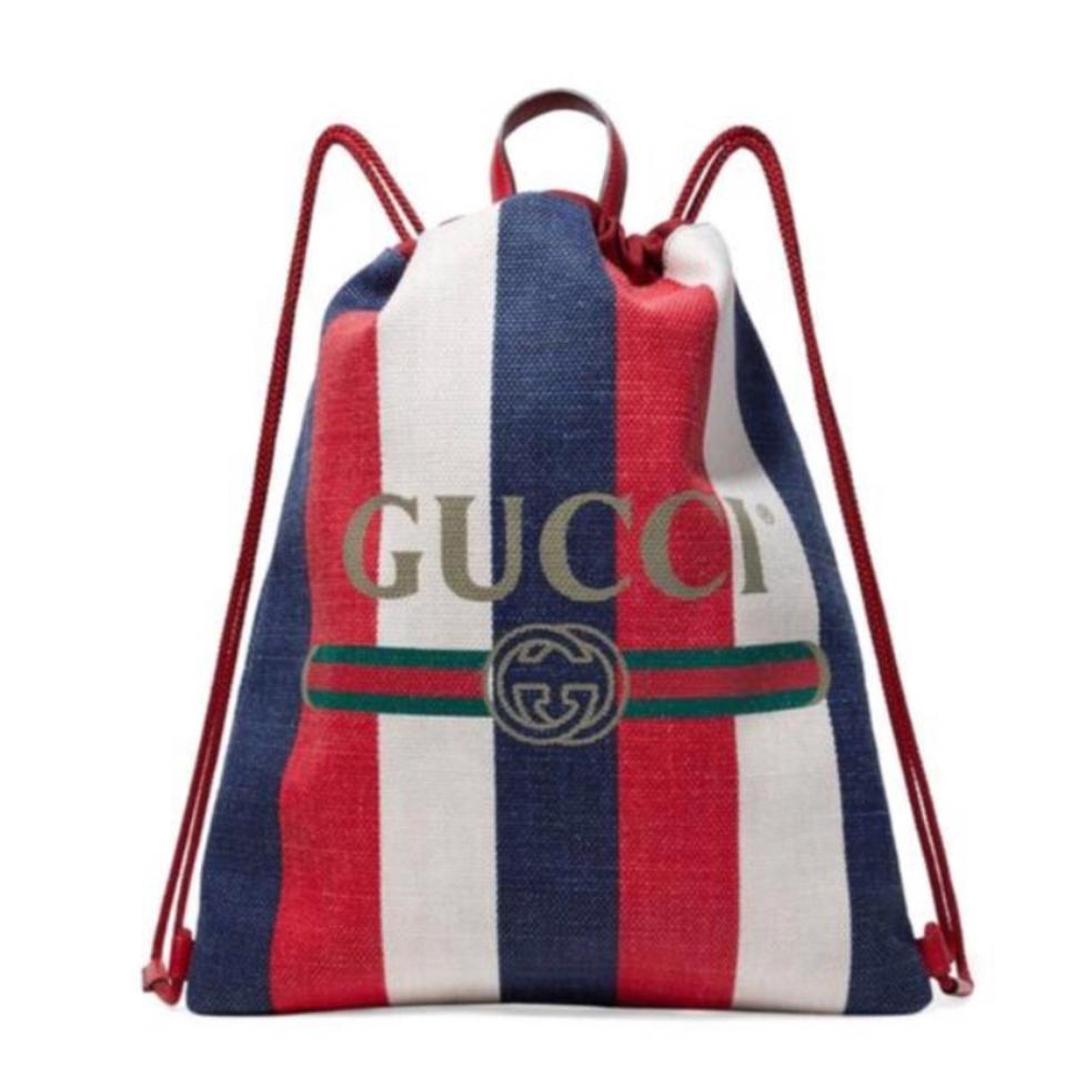 bd60f5752560 Gucci Drawstring Logo Printed Stripe Canvas Leather Backpack - Tradesy
