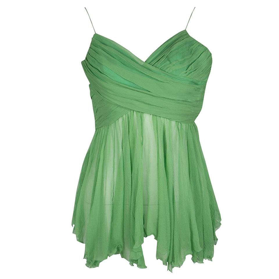 5bfc0a0401 Chloé Pleated Crinkled Chiffon Noodle Strap S Green Top - Tradesy