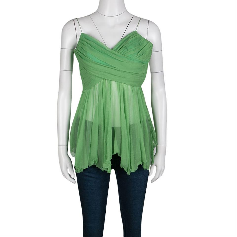 28b1ca30d1d63 Chloé Pleated Crinkled Chiffon Noodle Strap S Green Top - Tradesy