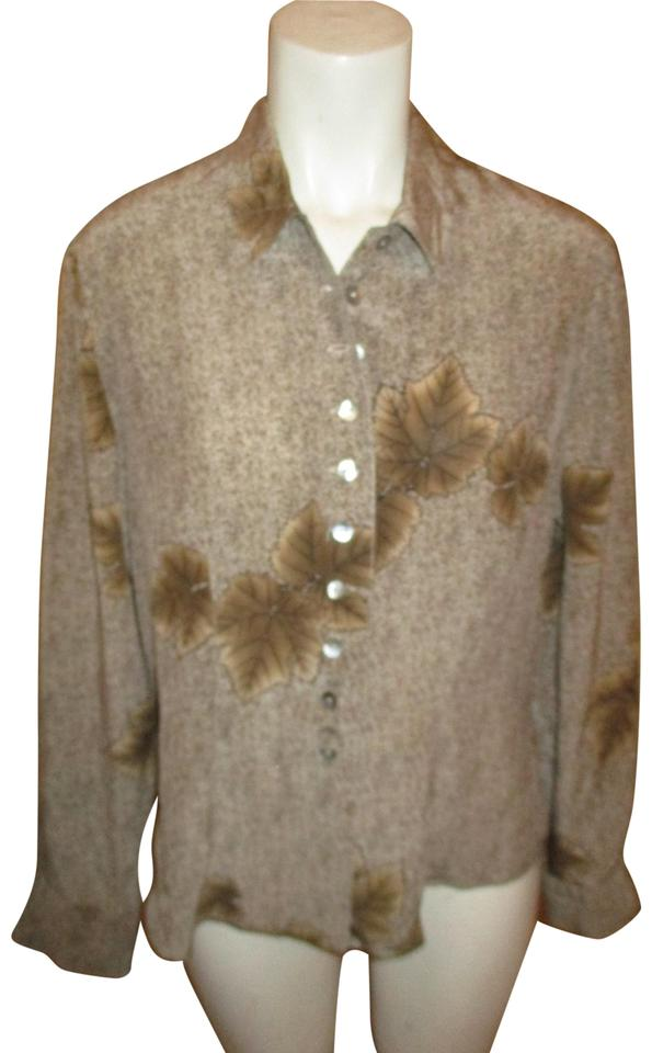63d391aa07d15c Victoria Brown Black   Tan Leaf Print Silk Blouse Button-down Top. Size  10  ...