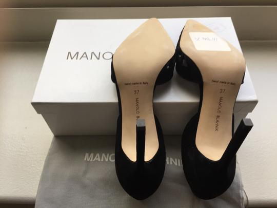 Manolo Blahnik Cut-out Pointed Toe Suede Nude Classic Black Pumps Image 1