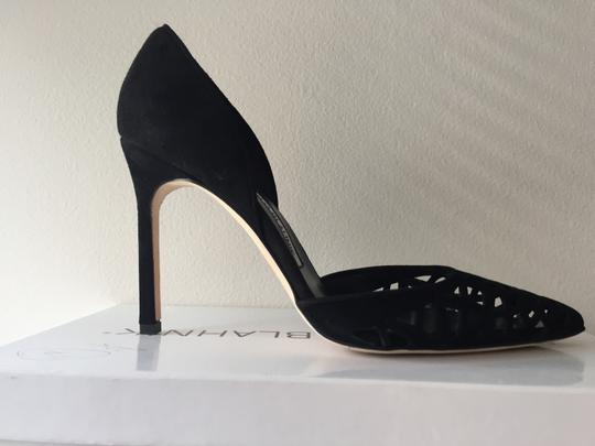 Manolo Blahnik Cut-out Pointed Toe Suede Nude Classic Black Pumps Image 5