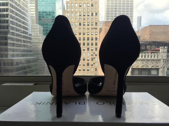 Manolo Blahnik Cut-out Pointed Toe Suede Nude Classic Black Pumps Image 6