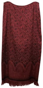 Christopher & Banks Paisley Fringe Hem Lined Dryclean Only Skirt Red