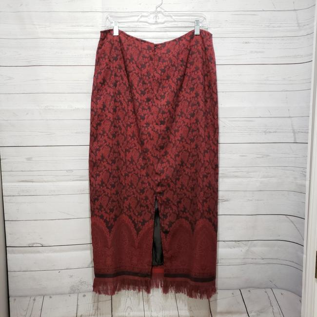 Christopher & Banks Paisley Fringe Hem Lined Dryclean Only Skirt Red Image 1