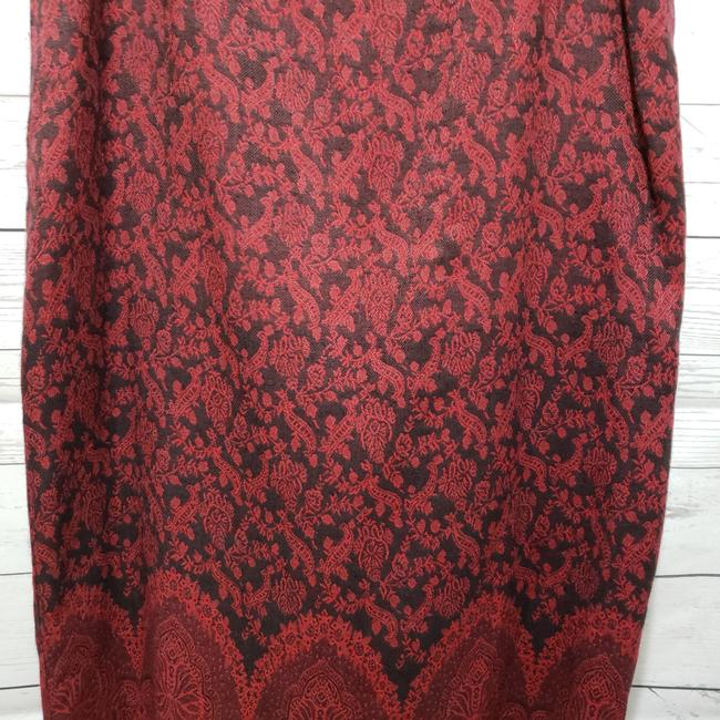 Christopher & Banks Paisley Fringe Hem Lined Dryclean Only Skirt Red Image 3