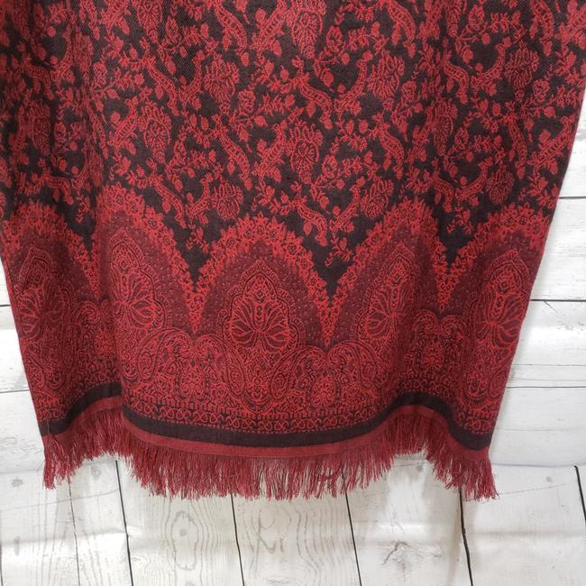 Christopher & Banks Paisley Fringe Hem Lined Dryclean Only Skirt Red Image 4