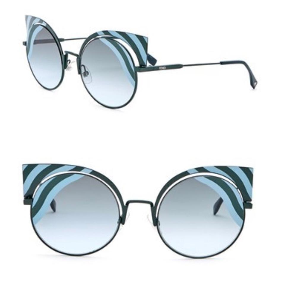 c12c860a5ba5 Fendi Green Blue Cat Eye Cut Out Sunglasses - Tradesy