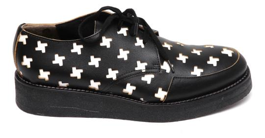 Marni Creepers Lace-up Oxford Designer Black, White, Yellow Flats Image 1