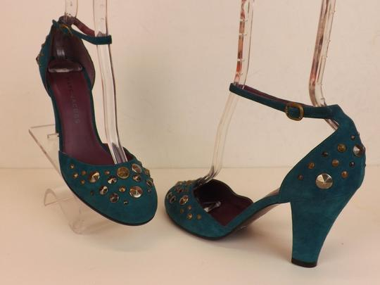 Marc Jacobs Cone Buckle Turquoise Green Blue Teal / Silver Pumps Image 8