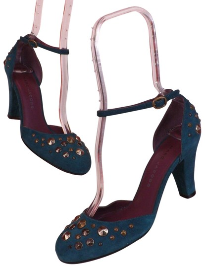 Preload https://img-static.tradesy.com/item/23787243/marc-jacobs-teal-silver-dark-suede-studded-ankle-strap-heel-italy-pumps-size-eu-395-approx-us-95-reg-0-1-540-540.jpg