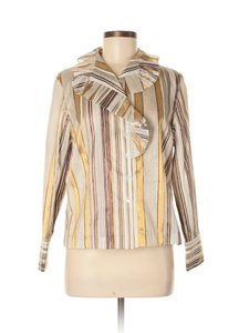 Doncaster Semi-sheer Ruffle Striped Dressy Top