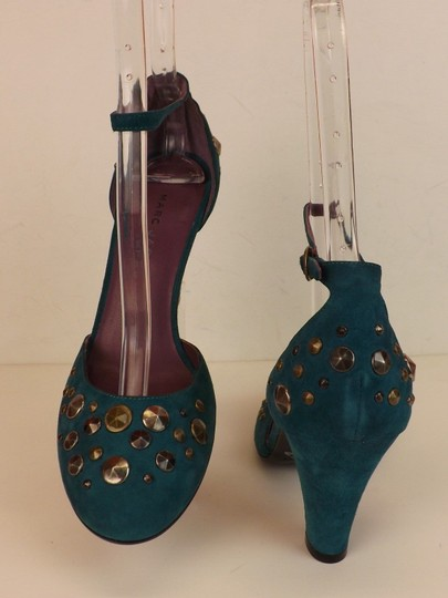 Marc Jacobs Cone Buckle Turquoise Green Blue Teal / Silver Pumps Image 4