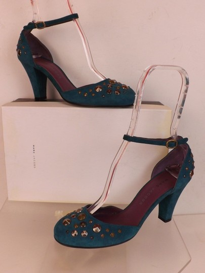 Marc Jacobs Cone Buckle Turquoise Green Blue Teal / Silver Pumps Image 5