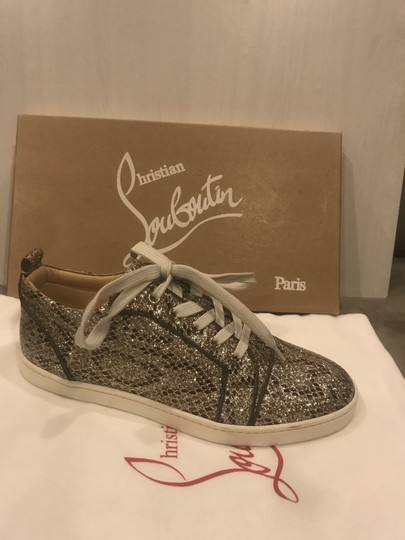Christian Louboutin Fashion Sneaker Gondoliere Glitter Orlato Snake Beige/Light Gold Athletic Image 1