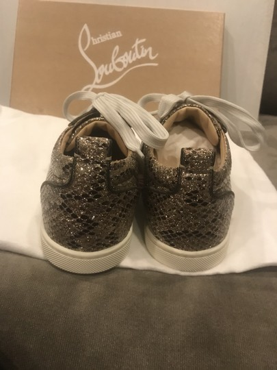 Christian Louboutin Fashion Sneaker Gondoliere Glitter Orlato Snake Beige/Light Gold Athletic Image 6