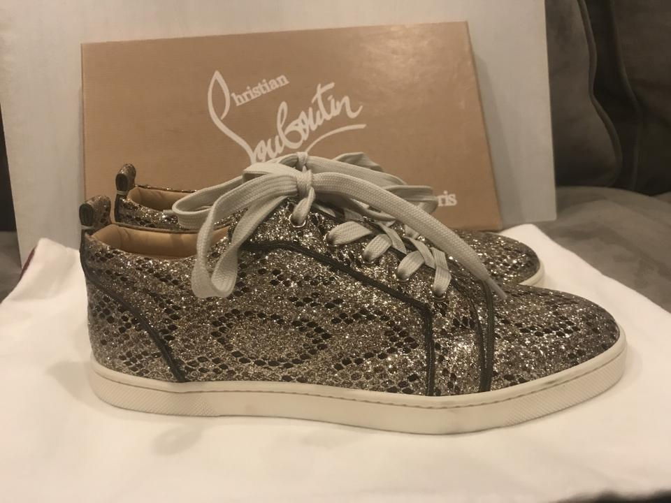 new concept 07904 53490 Christian Louboutin Beige/Light Gold Gondoliere Orlato Glitter Snake Print  Low Top Trainers Sneakers Size EU 39 (Approx. US 9) Regular (M, B) 27% off  ...