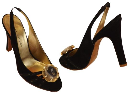 Preload https://img-static.tradesy.com/item/23787363/marc-jacobs-black-suede-jeweled-crystals-gold-slingback-sandals-italy-pumps-size-eu-38-approx-us-8-r-0-2-540-540.jpg