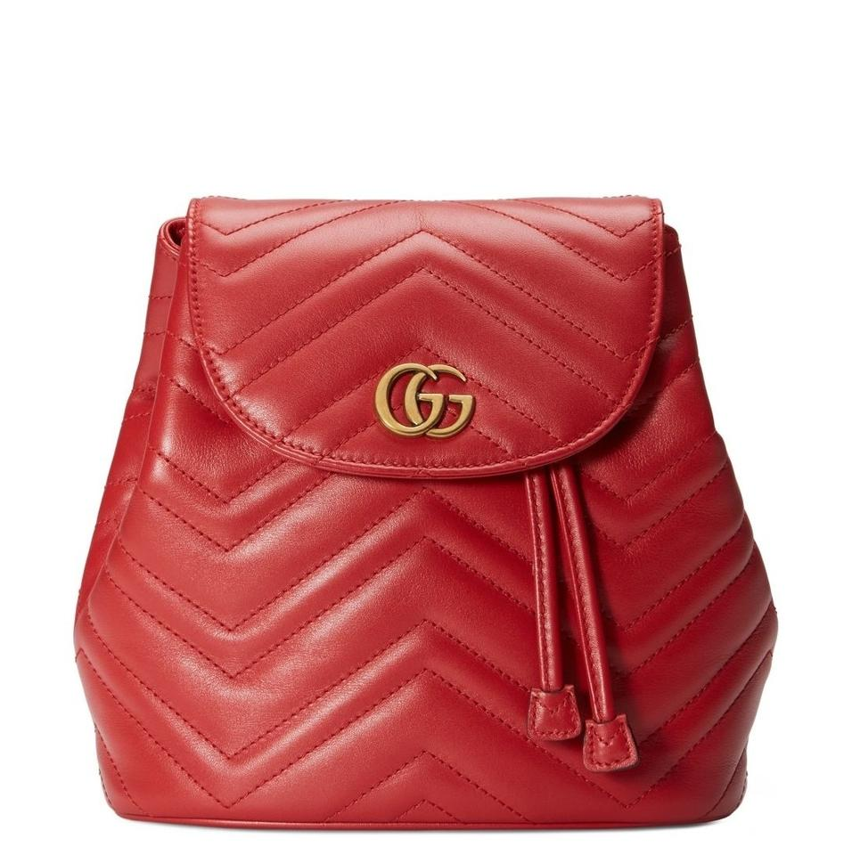 a544f617e9d Gucci Marmont New Matelasse Red Leather Backpack - Tradesy