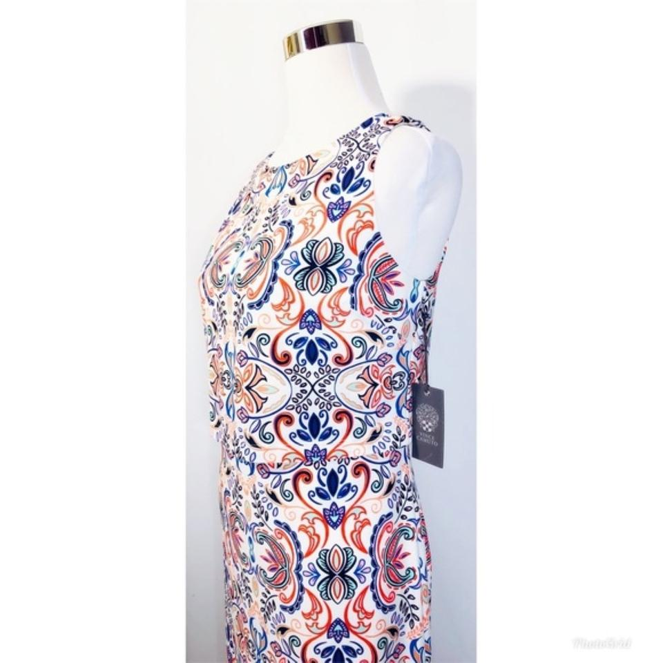 Over Camuto Vince Sheath White Blue Dress Work Office Printed Pop x4UnCUF