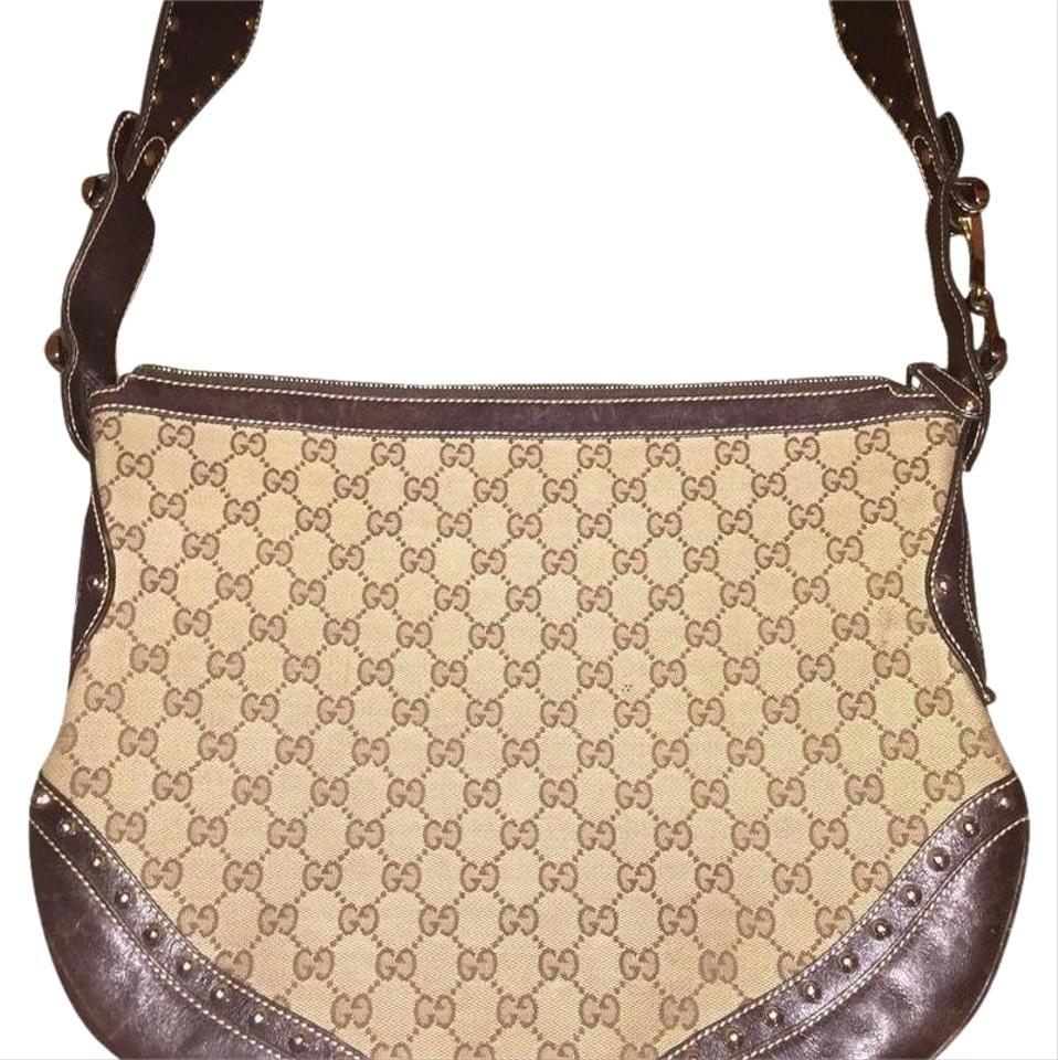 e50d956fb8a17c Gucci Pelham Borchie Monogram Canvas/Leather Red Green Hobo Bag ...
