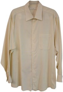Joseph Abboud Vintage Men's Button Down Shirt Yellow and White