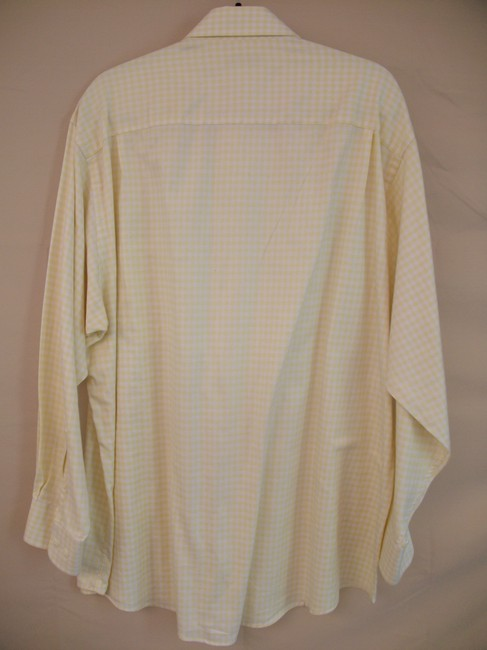 Joseph Abboud Vintage Men's Button Down Shirt Yellow and White Image 1