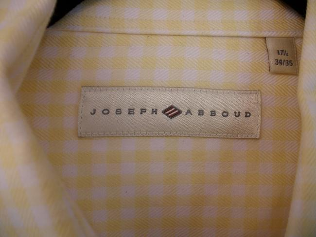 Joseph Abboud Vintage Men's Button Down Shirt Yellow and White Image 2