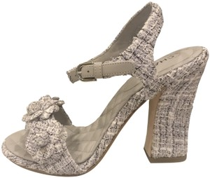 734034ad64aa58 Chanel Ankle Strap Tweed Camellia Heels Lavender