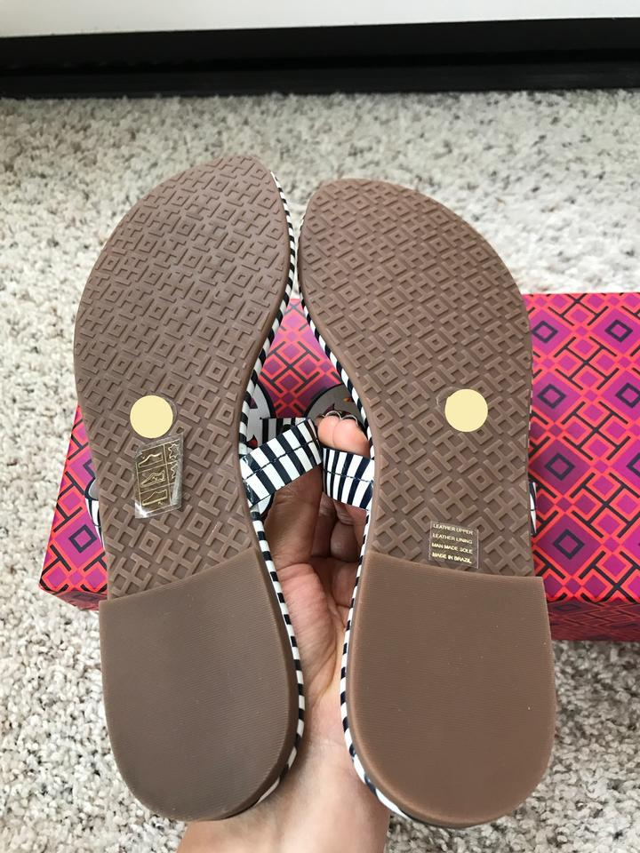 Leather Miller Patent Nautical Tory Sandals Printed Stripes White Navy Burch Small Sea wOx0TazvW