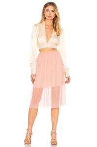 BCBGeneration Lined Elasticized Waist Crumpbled Tulle Dress Up Or Down Versatile Color Skirt Pink