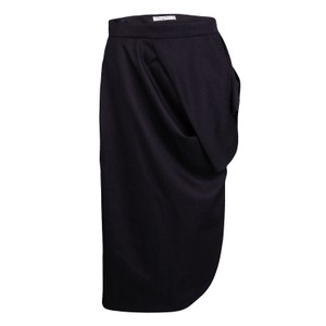 Dior Draped Wool Skirt Navy Blue