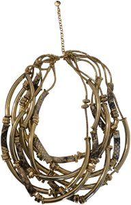 Etienne Aigner New Drama Tube Python Embossed Necklace