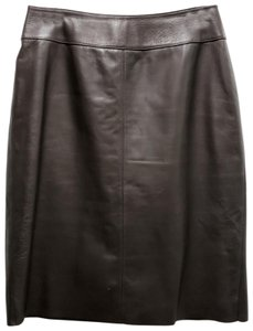 Classiques Entier Leather Pencil Lined Skirt Brown