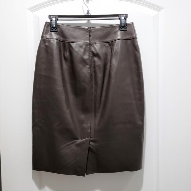 Classiques Entier Leather Pencil Lined Skirt Brown Image 1
