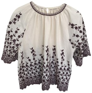 Ulla Johnson Top ivory with aubergine embroidery