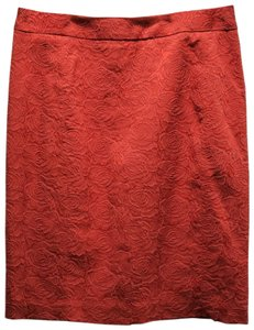 Anthropologie Jacquard Pencil Floral Dryclean Only Skirt Orange