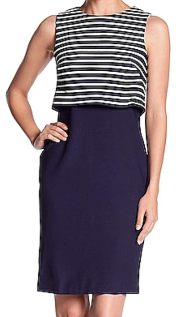 Eliza J Striped Overlay Solid Sheath Textured Fabric Fun To Accessorize Dress Image 0
