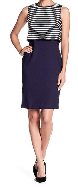 Eliza J Striped Overlay Solid Sheath Textured Fabric Fun To Accessorize Dress Image 1