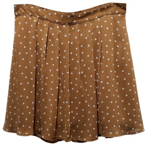 Old Navy Sheer Polka Dot Lined Polyester Mini Skirt Tan/White
