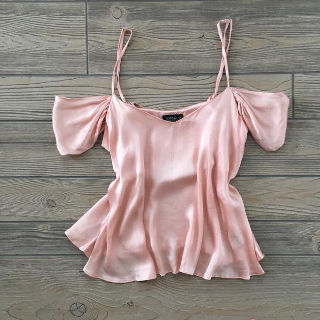 Topshop Satin Cold Shoulder Blouse Top pink Image 2