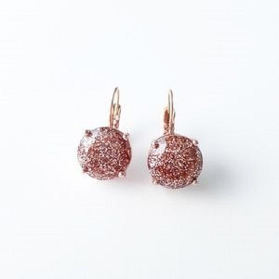 Kate Spade Gold Rose Glitter Round Leverback Earrings