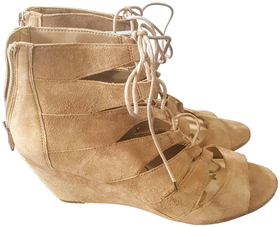40ad9f885 Sam Edelman Tan New Santina Suede Sandals Wedges Size US 10 Regular ...