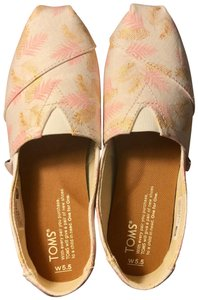 TOMS Pink/Golf Leaf White Glided Blush Palm Leaves Flats