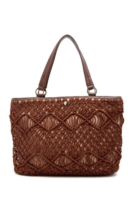 Item - Nappa Leather Brown Textile Tote