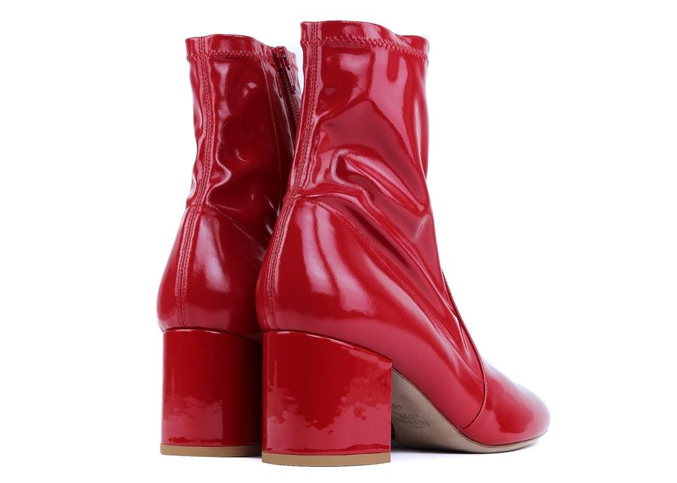 Valentino Ankle Red Booties Patent Boots Leather FwrBqF