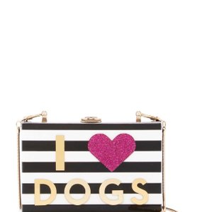 MILLY Cats Dogs Love Black and white Clutch