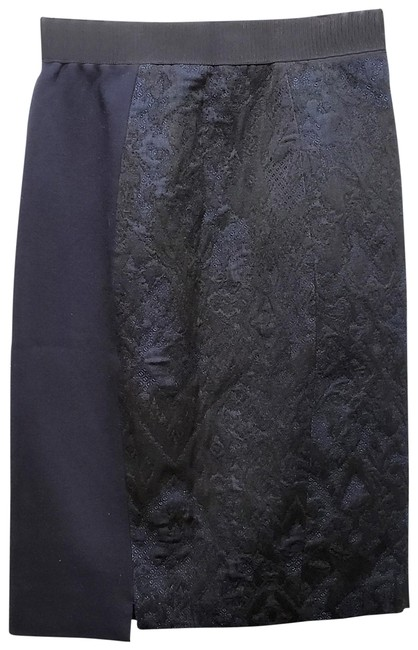 Elie Tahari Lace Pencil Dryclean Only Skirt Black/Blue Image 0
