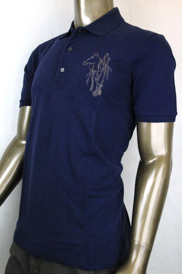 Gucci Navy New Men's Slim Fit Embroidered Horse Polo Top 3xl 338567 4564 Shirt Image 2